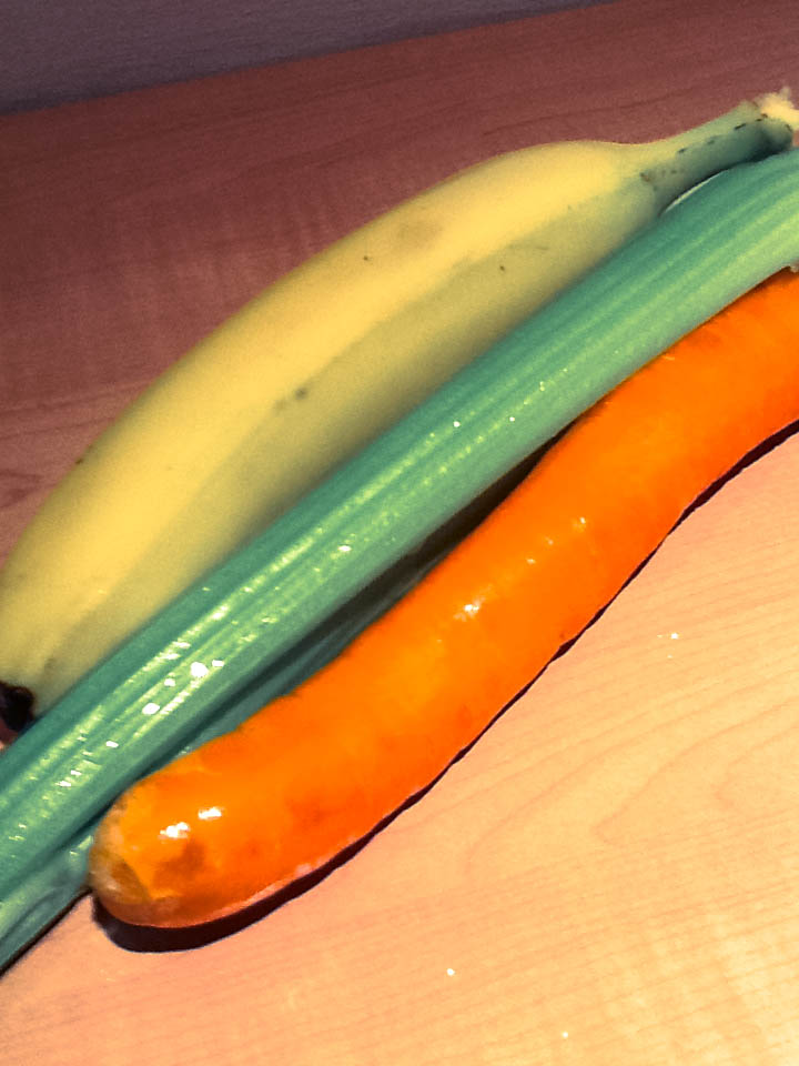 carrots and banana and celery stick