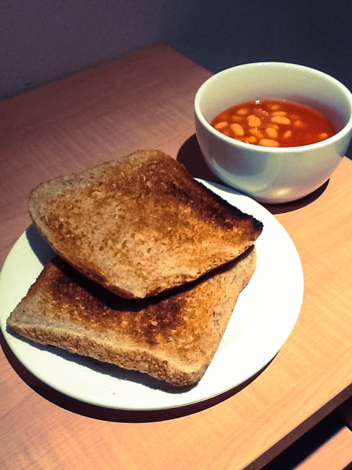 baked beans and bread