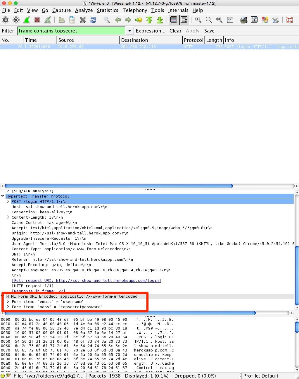 Wireshark with password